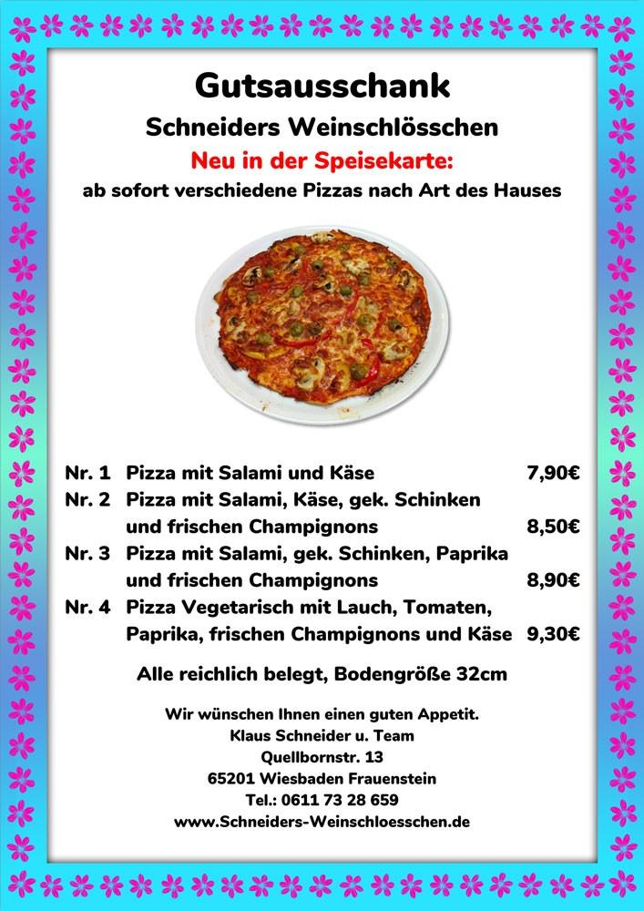Schneiders Weinschlösschen / Pizzakarte